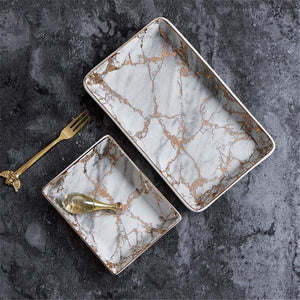 Ceramic Marble Tray with Pink Metallic Details - 1 / Small - Home Office Storage