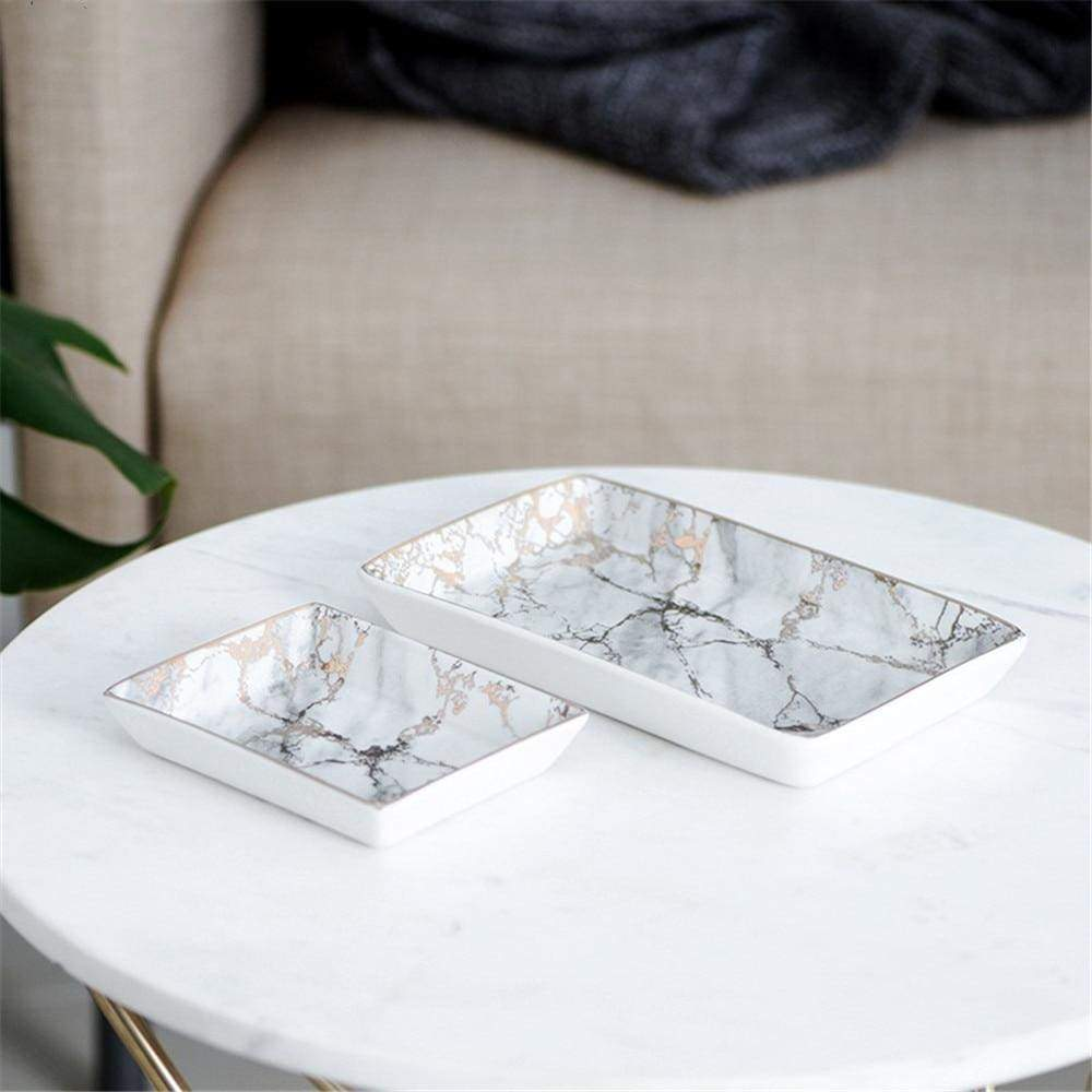 Ceramic Marble Tray with Pink Metallic Details - Home Office Storage