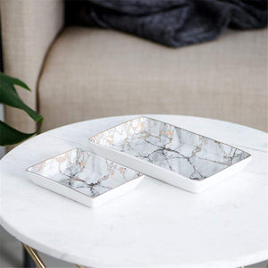Ceramic Marble Tray with Pink Metallic Details Home Office Storage Lohas Shop Store