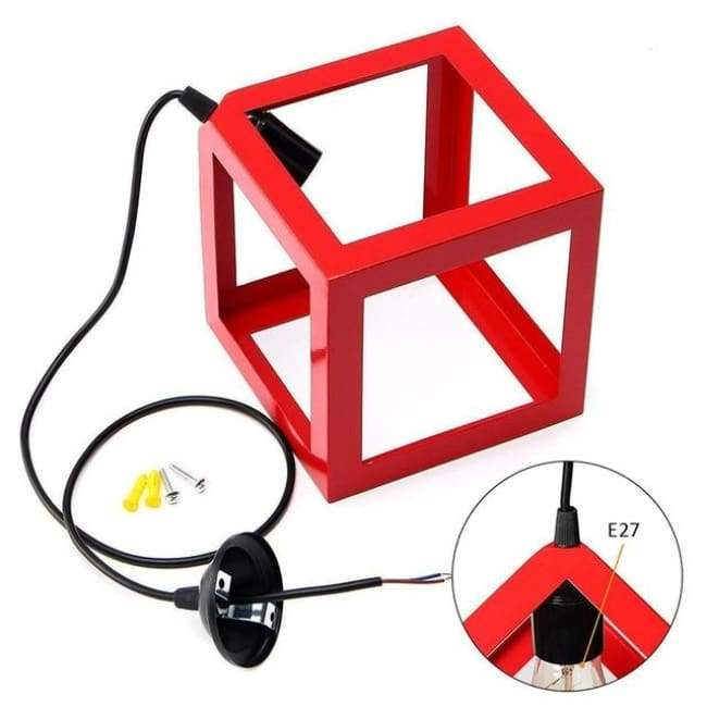 Cube Light - Available in White Black and Red - Red / 1 head - Lighting