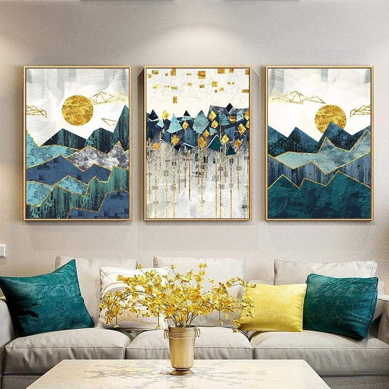 Multi-panel yellow and green geometric landscape wall art in a living room