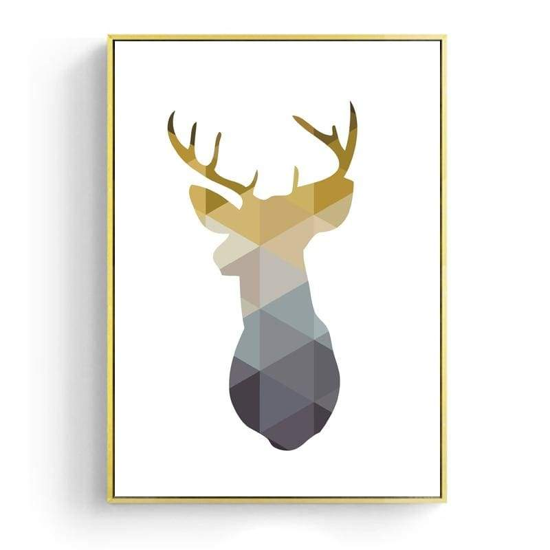 Geometric Wall Art - Heart / Deer - 6 x 8 / 15 x 20 cm / Deer - Painting & Calligraphy