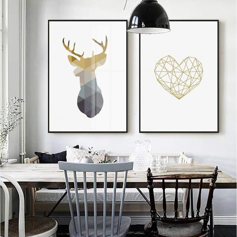 Geometric Wall Art - Heart / Deer - Painting & Calligraphy