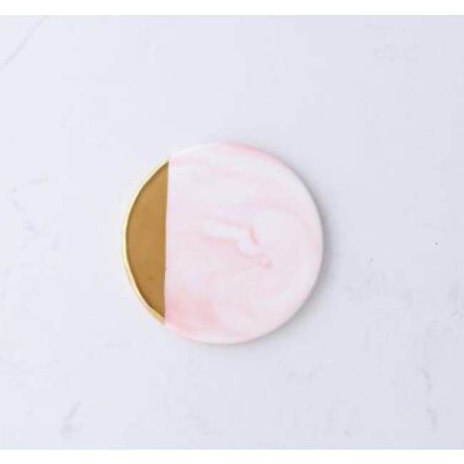 Gold Dipped Candle Holder - Oblique circle pink
