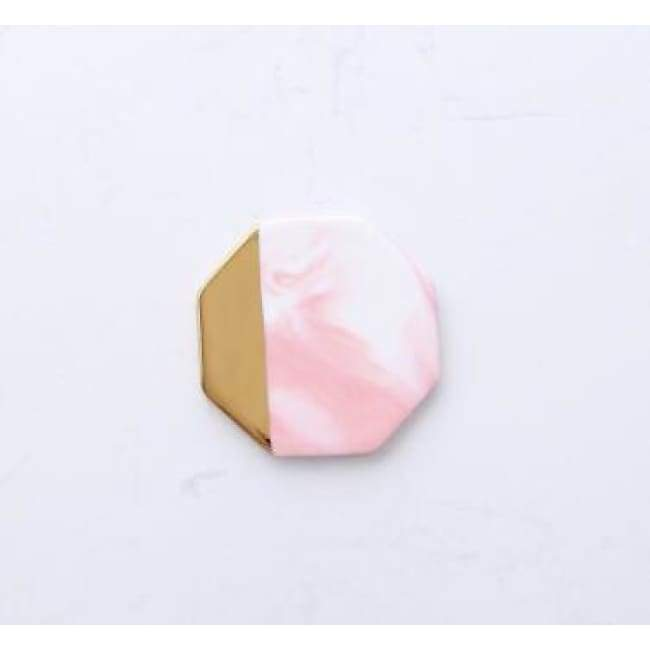 Gold Dipped Candle Holder - Octagon pink