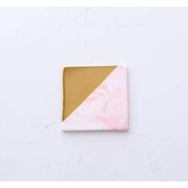 Gold Dipped Candle Holder - Square pink