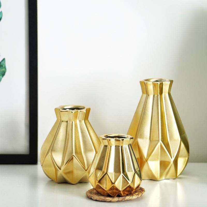 Low Poly Vase - Metallic Coated Ceramic - Gold Set of 3 - Vases