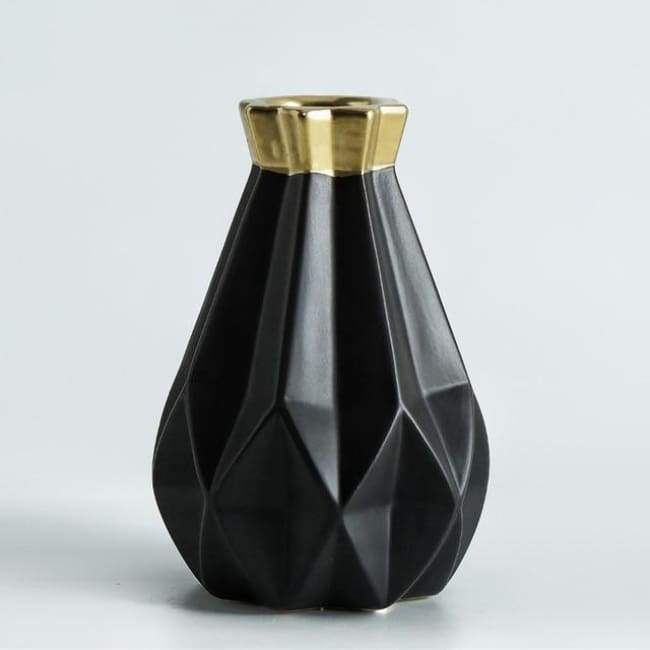 Low Poly Vase - Metallic Coated Ceramic - Large Black Gold - Vases