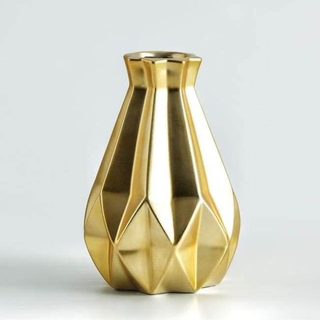 Low Poly Vase - Metallic Coated Ceramic - Large Gold - Vases