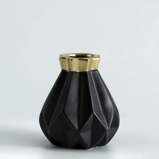 Low Poly Vase - Metallic Coated Ceramic - Medium Black Gold - Vases
