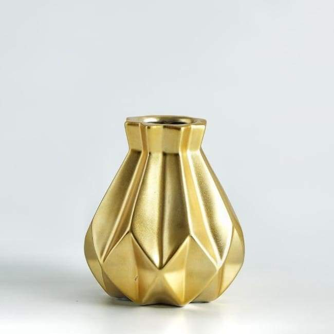 Low Poly Vase - Metallic Coated Ceramic - Medium Gold - Vases