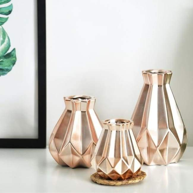 Low Poly Vase - Metallic Coated Ceramic - Rose Gold Set of 3 - Vases