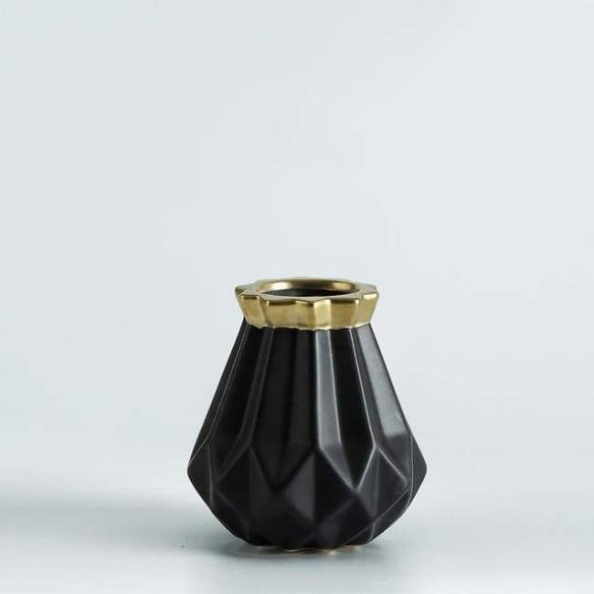 Low Poly Vase - Metallic Coated Ceramic - Small Black Gold - Vases