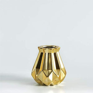 Low Poly Vase - Metallic Coated Ceramic Vases Freeson Ceramic Store Small Gold