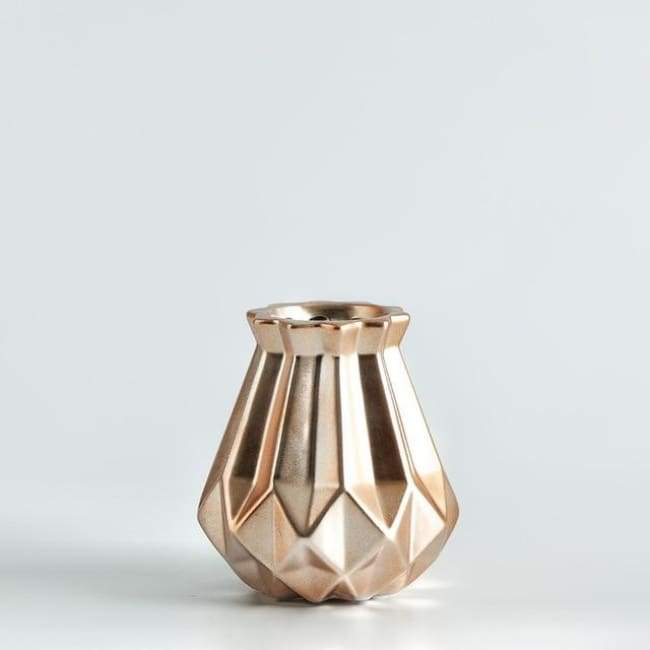 Low Poly Vase - Metallic Coated Ceramic - Small Rose Gold - Vases