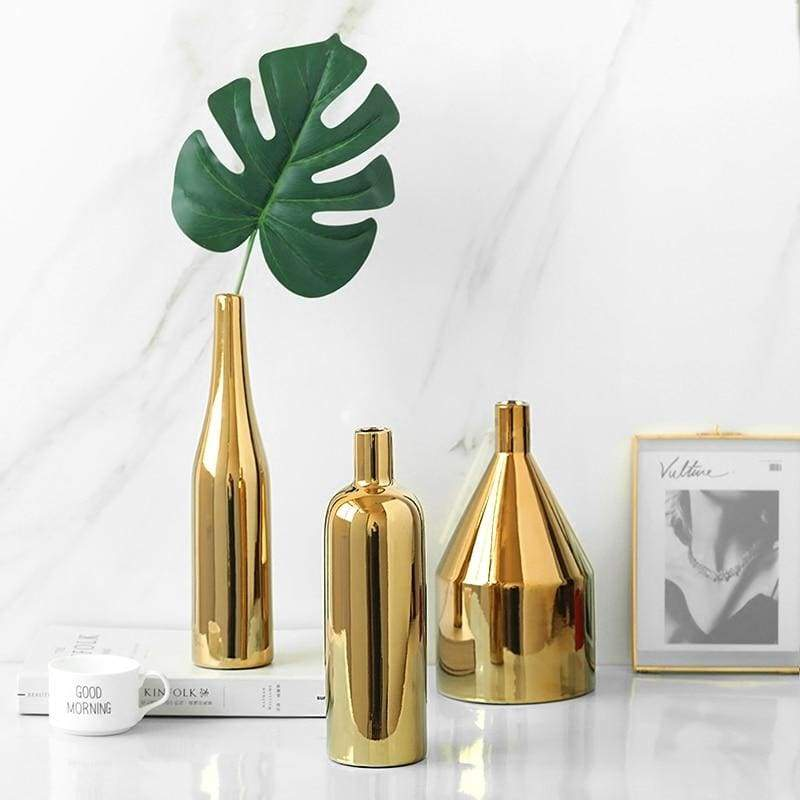 Sleek Gold Flower Vase - Premium Gold Plated Ceramic - Vases