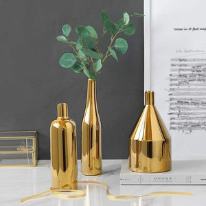 Sleek Gold Flower Vase - Premium Gold Plated Ceramic Vases Shop2936046 Store