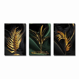 Modern Abstract Canvas Poster Golden Leaves Home Sayea Decor Store 30x40cm No Frame 3PCS