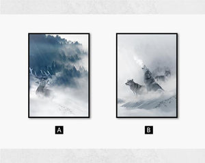 Nordic Black White Animal Poster Wolf Elk Wall Art Canvas Painting Forest Snow Mountain Print Picture for Living Room Home Decor|Painting & Calligraphy Painting & Calligraphy Sayea Decor Store 13x18cm No Frame 2pcs