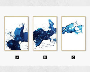 Watercolour Blue Abstract Wall Art Canvas Painting Minimalist Nordic Posters and Prints Wall Pictures for Living Room Home Decor|Painting & Calligraphy Painting & Calligraphy Sayea Decor Store 13x18cm No Frame 3pcs