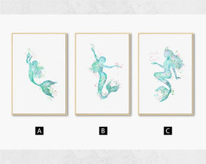 Nordic Abstract Blue Mermaid Wall Art Canvas Painting Modern Minimalist Posters and Prints Picture for Living Room Home Decor|Painting & Calligraphy Painting & Calligraphy Sayea Decor Store 13x18cm No Frame 3pcs