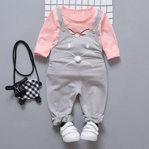 Spring newborn baby girls clothes sets fashion suit T shirt + pants suit baby girls outside wear sports suit clothing sets Clothing Sets My best love baby gray 9M