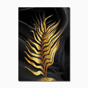 Modern Abstract Canvas Poster Golden Leaves Home Sayea Decor Store 30x40cm No Frame A