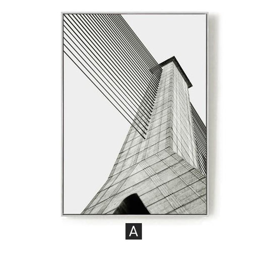 Industrial Geometric Building Canvas Painting Black White Wall Art Posters and Prints Wall Pictures for Living Room Home Decor|Painting & Calligraphy Painting & Calligraphy Sayea Decor Store 60x80cm No Frame A
