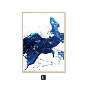 Watercolour Blue Abstract Wall Art Canvas Painting Minimalist Nordic Posters and Prints Wall Pictures for Living Room Home Decor|Painting & Calligraphy Painting & Calligraphy Sayea Decor Store 13x18cm No Frame B