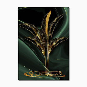 Modern Abstract Canvas Poster Golden Leaves Home Sayea Decor Store 30x40cm No Frame B