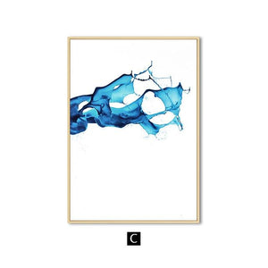 Watercolour Blue Abstract Wall Art Canvas Painting Minimalist Nordic Posters and Prints Wall Pictures for Living Room Home Decor|Painting & Calligraphy Painting & Calligraphy Sayea Decor Store 13x18cm No Frame C