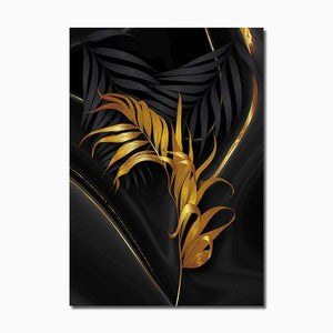 Modern Abstract Canvas Poster Golden Leaves Home Sayea Decor Store 30x40cm No Frame C