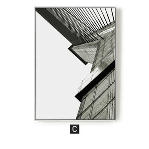 Industrial Geometric Building Canvas Painting Black White Wall Art Posters and Prints Wall Pictures for Living Room Home Decor|Painting & Calligraphy Painting & Calligraphy Sayea Decor Store 60x80cm No Frame C