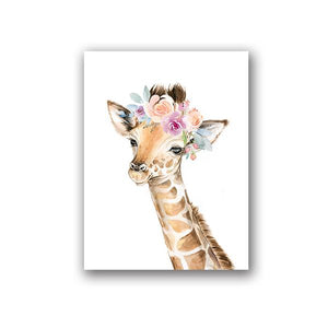 Animals Floral Crown Art Decor Canvas Painting , Baby Girl Prints Animal Giraffe Elephant Lion Wall Art Picture Nursery Poster Painting & Calligraphy walls tale A5 15x21 cm No Frame PH061