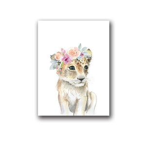 Animals Floral Crown Art Decor Canvas Painting , Baby Girl Prints Animal Giraffe Elephant Lion Wall Art Picture Nursery Poster Painting & Calligraphy walls tale A5 15x21 cm No Frame PH062