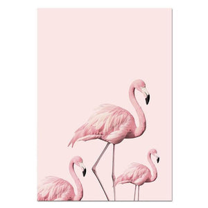 Nordic Flamingo Flower Wall Art Canvas Poster Pink Minimalist Print Painting Scandinavian Decoration Picture Living Room Decor Painting & Calligraphy NICOLESHENTING Official Store 13x18cm No Frame Picture 1