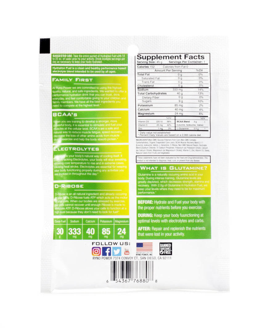 HYDRATION FUEL Lemon Lime Electrolyte Drink Mix | Single Serving