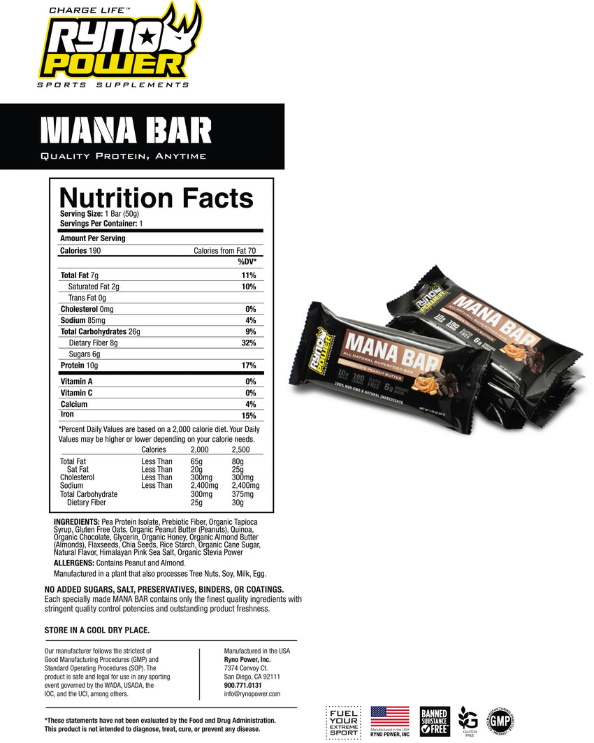 MANA Protein Bar Chocolate Peanut Butter | Single Bar