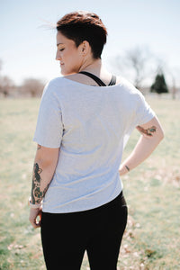 Tree Pose Slouchy Tee | White Fleck