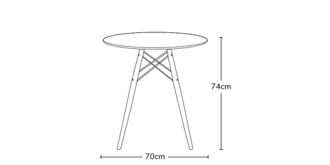 Eames white round dining table 70 info