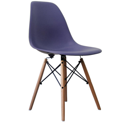CHARLES EAMES Style Cadbury Blue Plastic Retro DSW Side Chair - directhomeliving