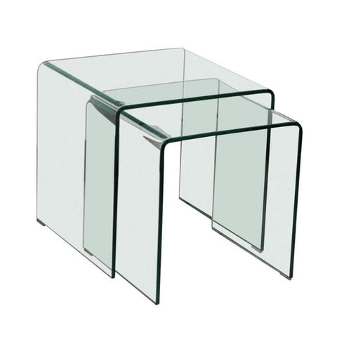 Azurro Glass Nest of 2 Tables - directhomeliving