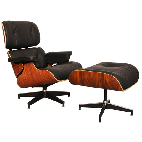 Eames Style Luxury Black Rosewood Lounge Chair and Ottoman - directhomeliving
