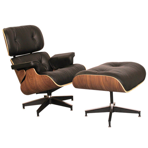 Eames Style Luxury Black Walnut Lounge Chair and Ottoman - directhomeliving