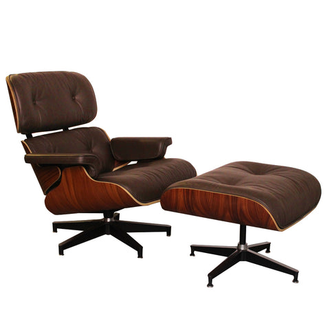 Eames Style Luxury Brown Rosewood Lounge Chair and Ottoman - directhomeliving
