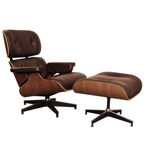 Eames Style Luxury Brown Walnut Lounge Chair and Ottoman - directhomeliving