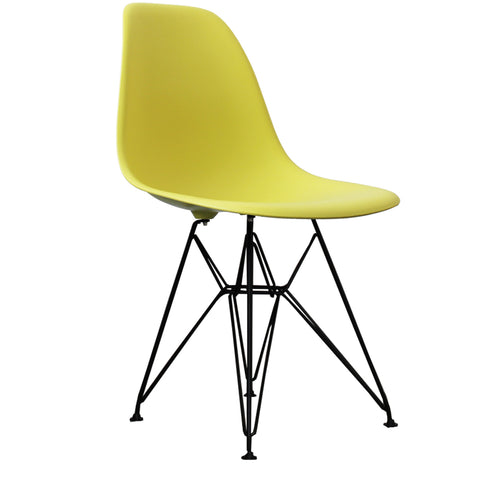 CHARLES EAMES Style Lime Plastic Retro DSR Side Chair with Black Legs - directhomeliving
