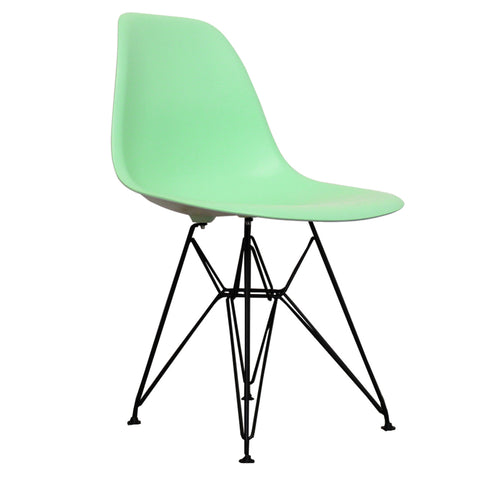 CHARLES EAMES Style Peppermint Plastic Retro DSR Side Chair with Black Legs - directhomeliving