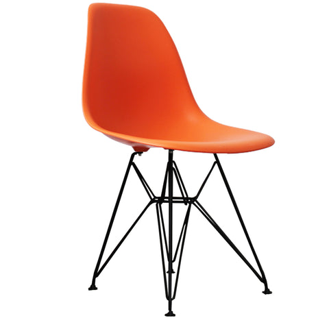 CHARLES EAMES Style Orange Plastic Retro DSR Side Chair with Black Legs - directhomeliving