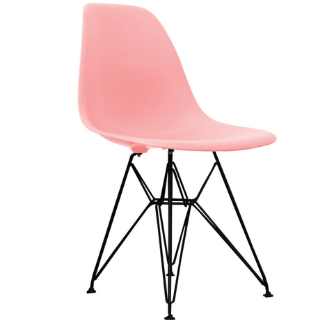 CHARLES EAMES Style Pastel Pink Plastic Retro DSR Side Chair with Black Legs - directhomeliving